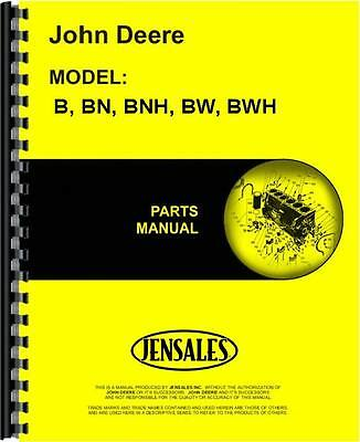 John Deere B Bn Bnh Bw Bwh Sn 60000 Up Tractor Parts Manual Jd-p-pc330