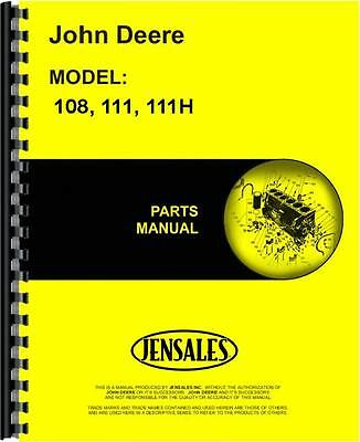 John Deere 108 111 111h Lawn Garden Tractor Parts Manual Jd-p-pc1699