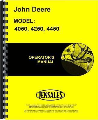 John Deere 4050 4250 4450 Tractor Operators Manual Jd-o-omrw21230