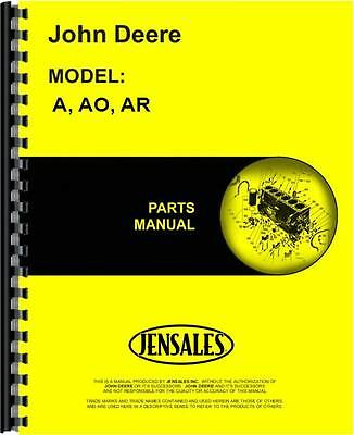 John Deere A Ao Ar Unstyled Tractor Parts Manual Jd-p-pc674