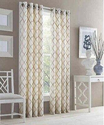"""J Queen New York Adorn Embroidery Curtain Panel 95"""" Gold Grommet 1 Panel"""