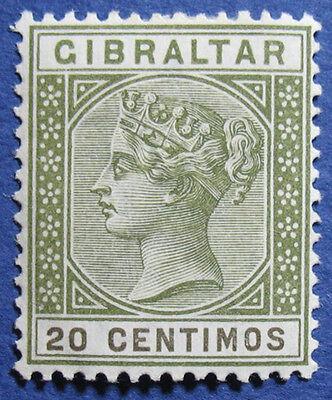 1896 GIBRALTAR 20C SCOTT# 31 S.G.# 25 UNUSED                             CS03419