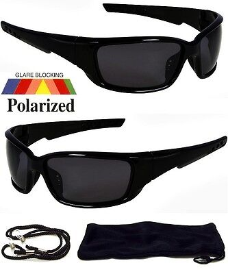 NEW Polarized Sunglasses Wrap Around Frame Mens Dark Black Lens Fishing Glasses
