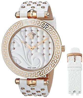 Versace Womens VK7010013 Vanitas Rose Gold IP Coated White 2 leather Bands Watch