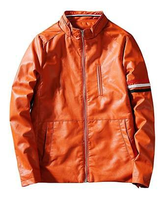Men's Casual Fit Full-Zip Stand Collar Contrast Color Stripe Leather Jacket - XL Full Zip Stand