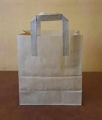 250 x Medium Brown Paper Kraft SOS Takeaway Carrier Bags!