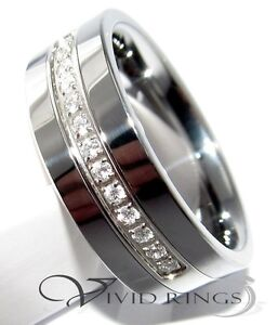 8mm-Men-Tungsten-Carbide-Wedding-Ring-CZ-Band-Size-7-5-to-14-5
