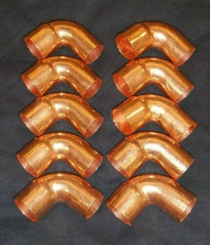 """10 PACK 1"""" Copper STREET FTG 90 Degree Elbow Sweat Solder Pressure Fitting New"""