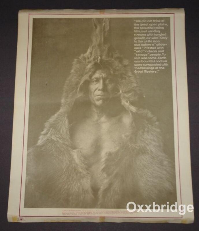 Akwesasne Notes Bear Belly Arikara NATIVE AMERICAN INDIAN RARE POSTER 1970 Vinta