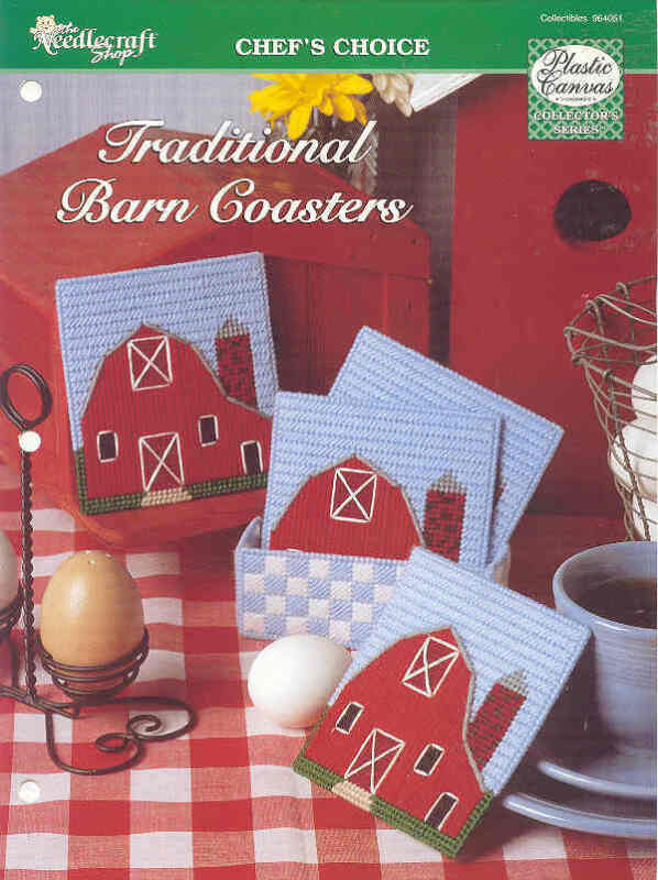Traditional Barn Coasters  ~   plastic canvas pattern