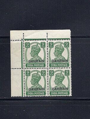 BAHRAIN 1942-45 KGVI (SG 40 9 pies) VF MNH corner block of 4 *read desc*