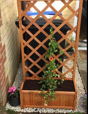 Garden Trellis Planter Outdoor Patio Flower Plant Pot Box With Climbing Support