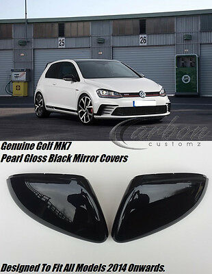 VW GOLF MK7 GENUINE PEARL GLOSS BLACK MIRROR COVERS GTI GTD GO</em>...