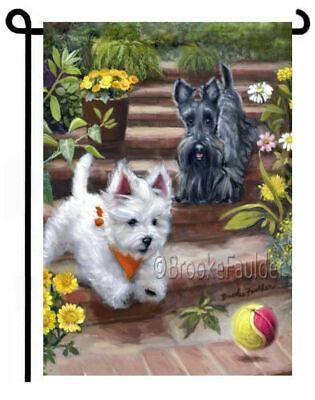 Westie Highland Terrier (WESTIE SCOTTIE GARDEN FLAG West Highland Terrier Scottish Dog ART painting )