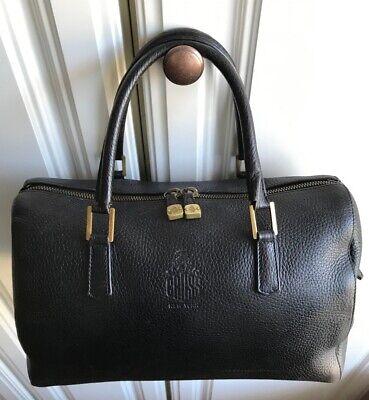 Mark Cross vintage BOSTON Doctor's Bag HANDBAG black pebbled leather brass links