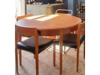 G Plan table and 3 teak chairs