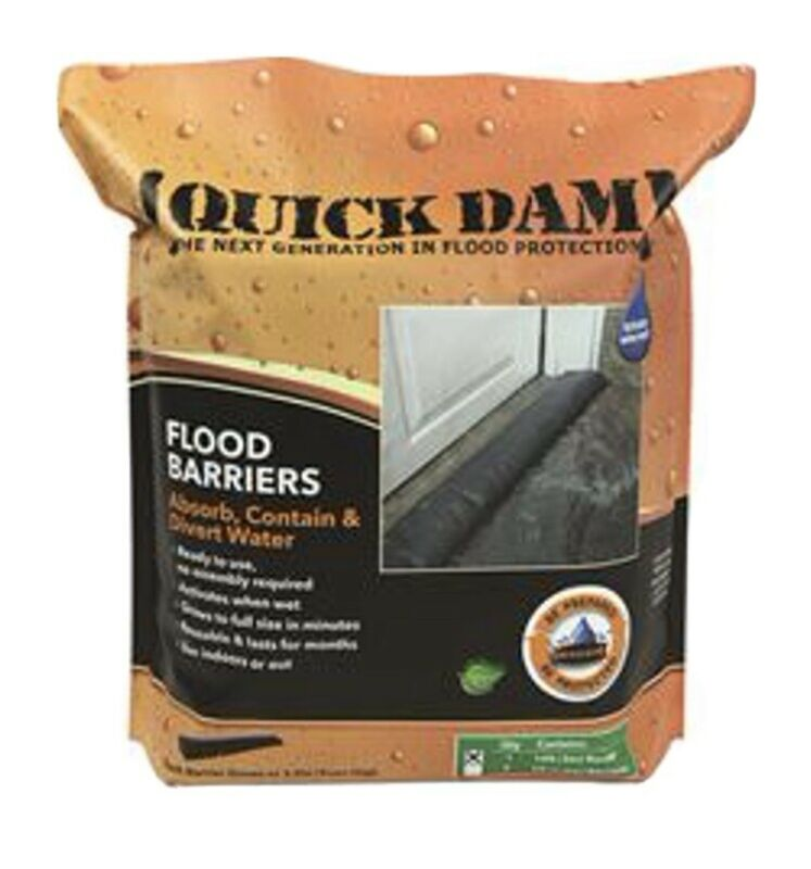 """Quick Dam Flood Barrier Fabric Black 6-In. x 10-Ft x 3.5"""" high absorbent protect"""