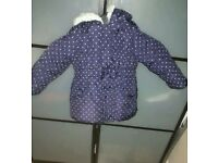 Girls Padded Winter Coat Size 3/4 Years