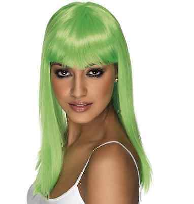Womens Girls Neon Green Glamourama Wig Long Straight Fringe Katy Perry Colour