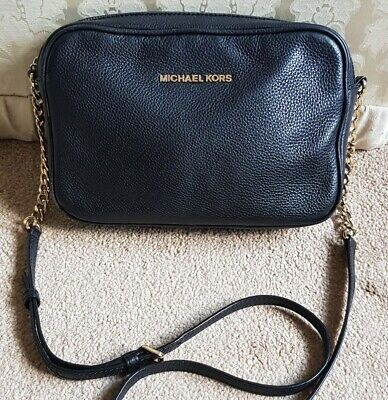Michael Kors black soft pebbled leather crossbody bag