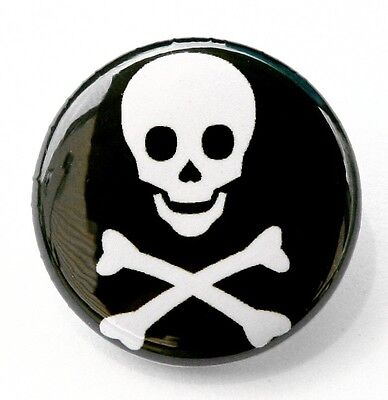 SKULL & CROSSBONES - Novelty Button Pinback Badge 1
