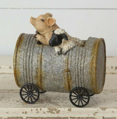 Primitive PIG and SHEEP Riding in Can Farm Animal Figurine Farmhouse Country
