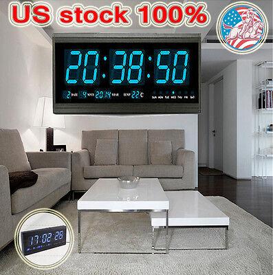 Modern 18.9'' X 7.3'' Digital Large Big Jumbo LED Calendar Clocks Blue US