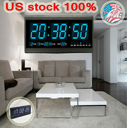 Modern 18.9'' X 7.3'' Digital Large Big Jumbo LED Calendar Clocks Blue US