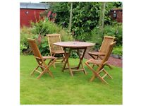 5 Piece Octagonal Teak Table Folding Chair