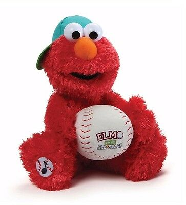 "Gund Sesame Street 13"" Plush ELMO BASEBALL PLAYER ~NEW~"