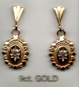 real new 9ct 375 yellow gold ruby drop dangling stud earrings antique look