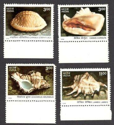 India 1998 Sea Shells of Andaman & Nicobar Islands set of 4 MNH