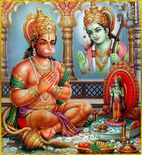 Hanuman and Krishna Art Poster Print. Hinduism Hindu God India