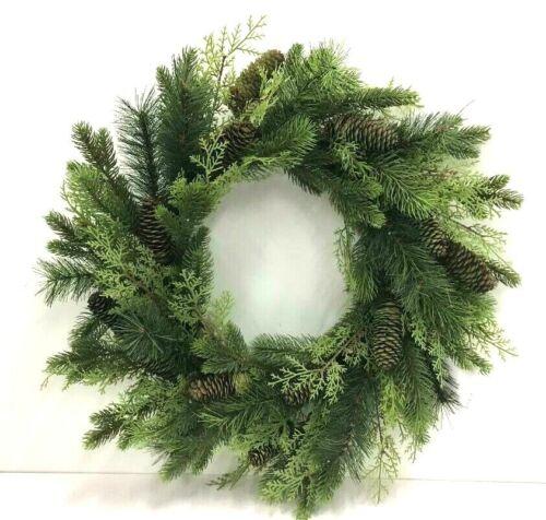 """Mix Pine Cedar Twig Wreath~Natural Pinecones~Green,Natural~24""""~PVC/Artificial"""