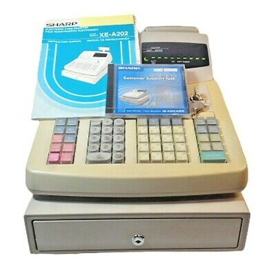 Sharp Xe-a 202 Electronic Cash Register With Keys Manual White