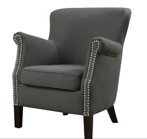 Accent Armchair Grey Linen Club Chair Cocktail Upholstered Reading Chair