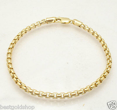- 4mm Venetian Round Box Chain Bracelet Lobster Clasp Real 10K Yellow Gold