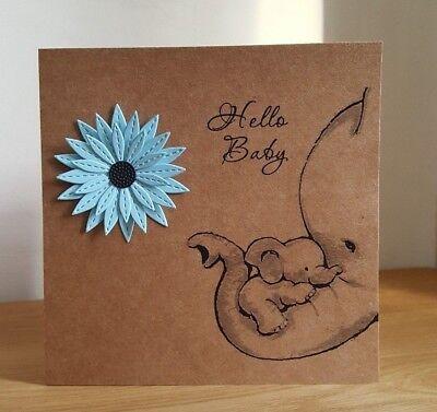 Handmade New Baby Boy Card Flower