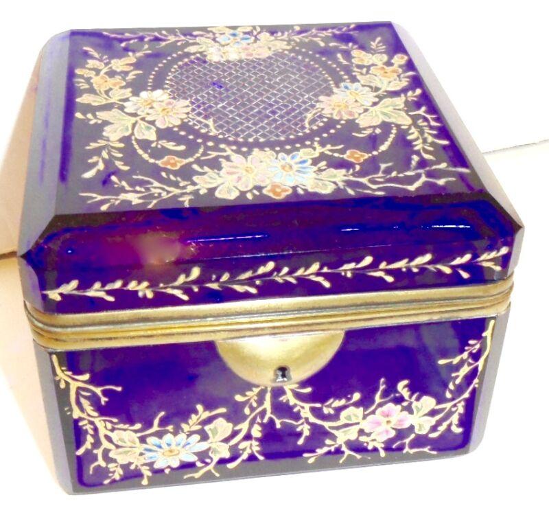 Antique Bohemian Moser  glass box
