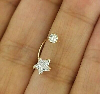 14k Yellow Gold Belly Navel Ring Star Diamond 0.10 CT Body Piercing Jewelry