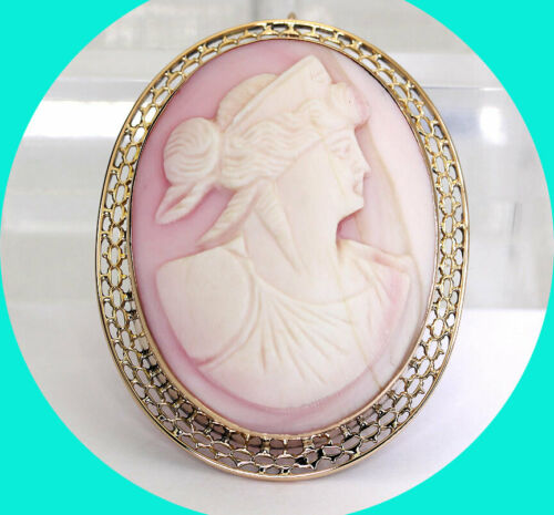 """Antique cameo pin pendant yellow gold unique hand carved pink shell oval 1 5/8"""""""