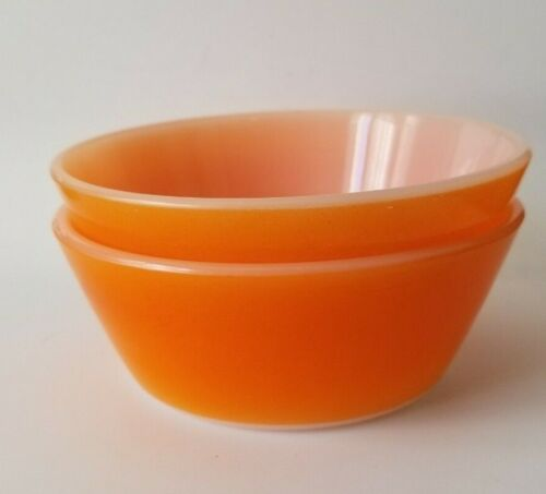 """Set of 2 Vintage Fire King Glass Ice Cream, Cereal, Bowls Bright Orange 5"""" x 2"""""""