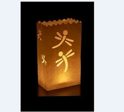 10 Dragonfly Candle Paper Bag Lantern Garden Party Outdoor Luminaries gbm Dragonfly Garden Candle Lantern