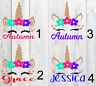 Unicorn personalized name Decal Single Color Approx. 3x3 B