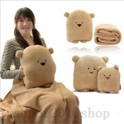 Plush Bear Stuffed Animals Hand Warm Blanket Hold Pillow Cushion office gift ()