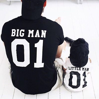 Daddy and Me Toddler Baby Kids Boys Letter T shirt Tops Family Handsome Clothes - Daddy And Me Clothing