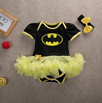 US Newborn Baby Girl Batman Party Tutu dress Romper + Headband Outfit Costume](Newborn Batman Costume)