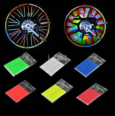 Hot 12Pcs Bike Mount Wheel Spoke Clip Tube Strip Reflective Multicolor US