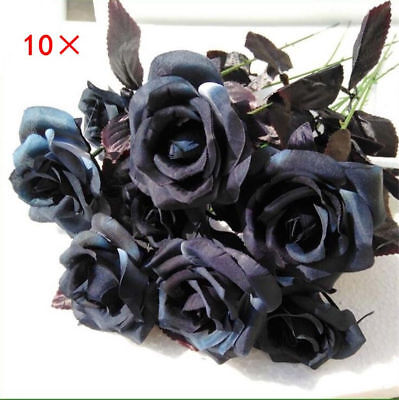10 Pcs Artificial Flowers Black Roses Bouquets Real Looking Fake Halloween Decor](Halloween Bouquets Flowers)