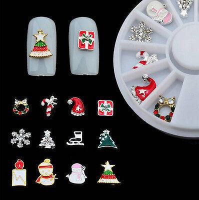 12 pcs Christmas 3D Nail Art Decoration Glitter Rhinestones Charm Jewelry Alloy - Christmas Glitter